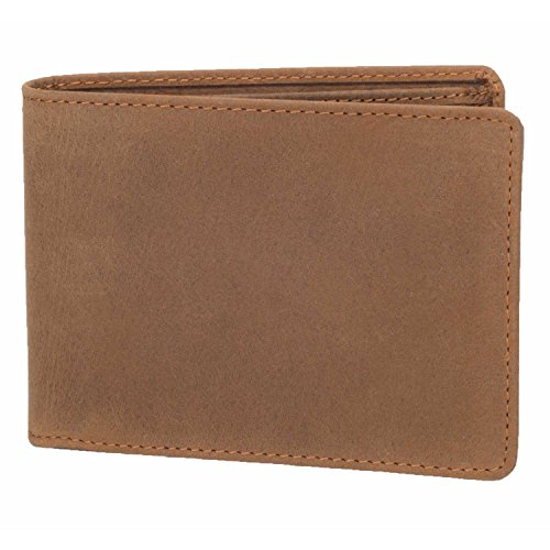 DiLoro Wallets for Men Bifold Flip ID Section Coin Compartment RFID Protection Full Grain Top Quality Vegetable Tanned Leather (Light Hunter Brown) by DiLoro (Image #5)