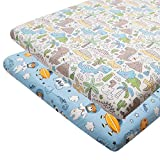 ALVABABY Pack n Play Baby Play Playard Sheets, 2pcs 100% Organic Cotton,Large 27x39x4,Soft and Light,Portable Crib Sheet for Boys and Girls Player Matteress 2FTPSW14