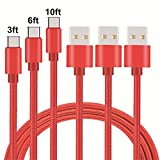 Type C Cable, MCUK 3 Pack 3ft 6ft 10ft Lightning Cable Charging Cord Nylon Braided Data Sync Cable for New Macbook 12 inch, OnePlus 2, LG G5, Nexus 6P/5X, ChromeBook Pixel ((3ft+6ft+10ft)Red)
