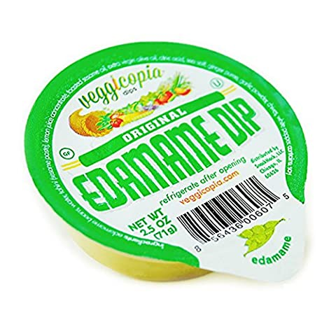 Veggicopia Dips, Edamame Dip in 2.5oz Single Serving Cups (Pack of 24), No Refrigeration Required, Perfect for the Office or On the Go (Roasted Garlic Hummus)
