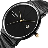 Men's Fashion Watch Simple Casual Analog Quartz Wahtces with Black Stainless Steel Mesh Band Minimalist Wrist Watches