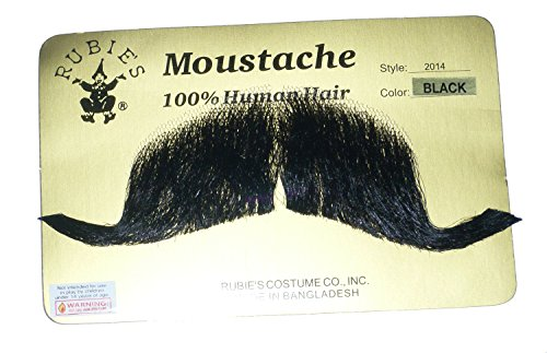 Human Hair Mustache Colonel Major Handlebar Includes 6 Free Adhesive Strips 2014