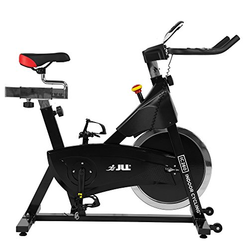 JLL IC260 Indoor Cycling 2019 Black Edition, 15kg Flywheel with Adjustable Resistance, 3-Piece Crank, 6-Function Monitor with Heart-rate, Adjustable Handlebars & Seat, 12-Month Home Use Warranty