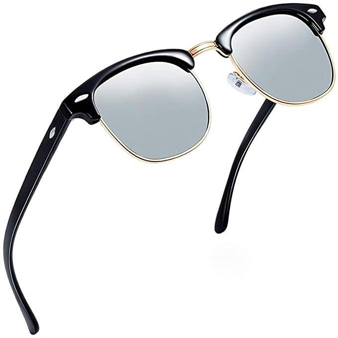 Aisprts Gafas de sol polarizadas retro medio marco clásico para Hombre y Mujer