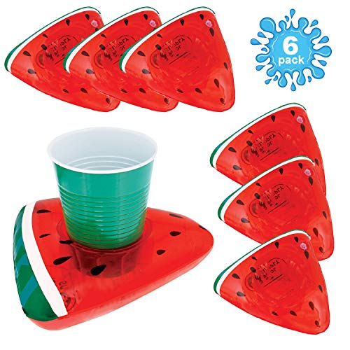 U.S. Pool Supply Inflatable Floating Watermelon Slice Drink Holder Set (6 Pack) - Float Beverage Cans, Cups & Bottles - Fun Kid & Adult Pool Party -
