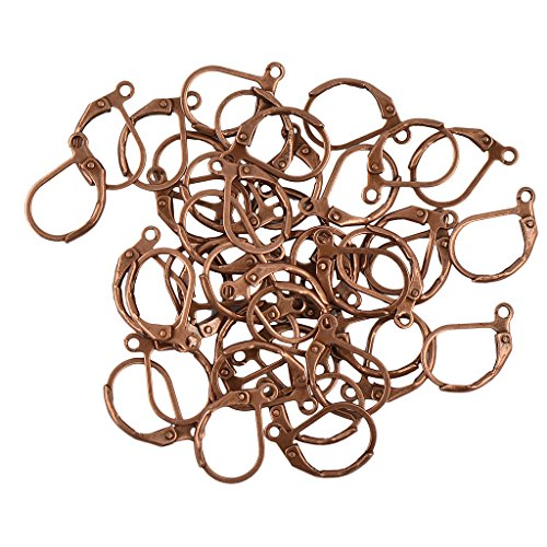 MagiDeal French Lever back Earrings Findings Hooks Open Loop DIY Pack of 50pcs - Vintage Copper, 13 x 12mm