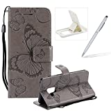 Strap Leather Case for Samsung Galaxy A8 Plus 2018,Wallet Leather Case for Samsung Galaxy A8 Plus 2018,Herzzer Premium Stylish Pretty 3D Gray Butterfly Printed Bookstyle Magnetic Full Body Soft Rubber Flip Portable Carrying Stand Case with Card Holder Slots