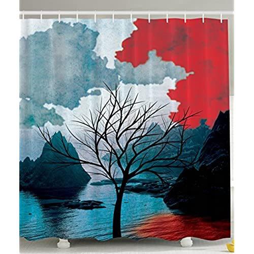 ... Design Mountains Art Prints Rocks Creative Thinking Home Habitat Decor  Bathroom Fashion Print Polyester Fabric Shower Curtain Black Red Teal White