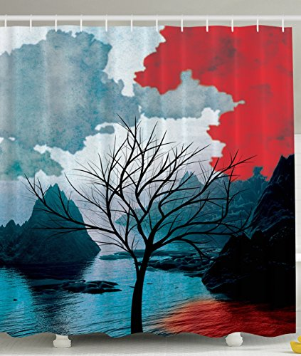 Winter Tree Mystic Landscapes Watercolor Design Mountains Art Prints Rocks Creative Thinking Home Habitat Decor Bathroom Fashion Print Polyester Fabric Shower Curtain Black Red Teal White (Christmas Red Teal And)