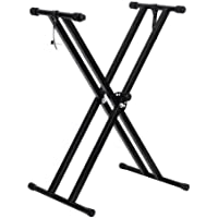 OZSTOCK Professional Height Adjustable Folding X Type Double-Braced Keyboard Stand