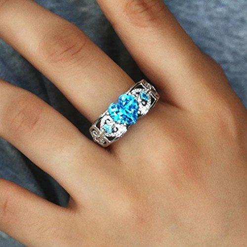 Sinwo Women Natural Ruby Gemstones Birthstone Bride Wedding Engagement Heart Ring Exquisite Engagement Wedding Band Heart Bride Ring (8, Sky ()