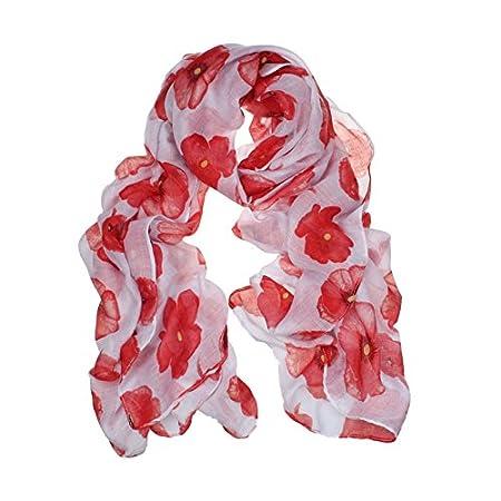 Sothread New Red Poppy Flower Scarf Print Long Scarf Beach Wrap Ladies Stole Shawl (White)