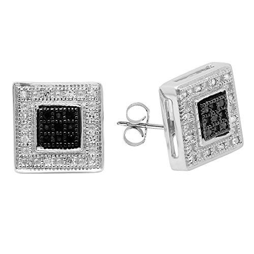 rling Silver Round White & Black Diamond Micro Pave Kite Shape Stud Earrings ()