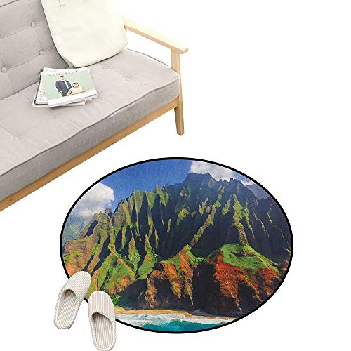 - Hawaiian Round Rug ,Aerial View of Na Pali Coast Kauai Hawaii Mountain Cliff Seacoast Scenic Photo, Flannel Microfiber Non-Slip Soft Absorbent 31