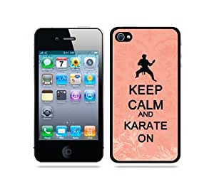 Keep Calm And Karate On Coral Floral - Protective Designer BLACK Case - Fits Apple iPhone 4 / 4S / 4G