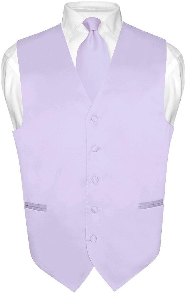 Men's Dress Vest & Necktie Solid Lavender Purple Color Neck Tie Set