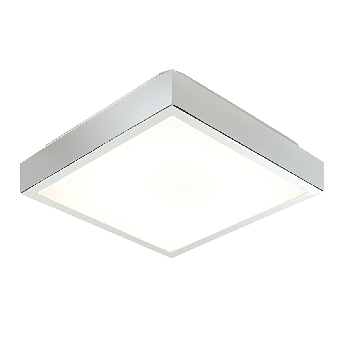Chrome Plated Square 28W 2D HF Fluorescent Flush Bathroom Ceiling Light IP44 Rated [Energy Class A] National Lighting