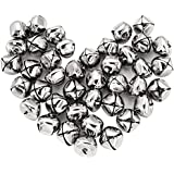 Mudder Silver Jingle Bells Bulk for Festival Decorations DIY Craft, 1 Inch, 40 Pack