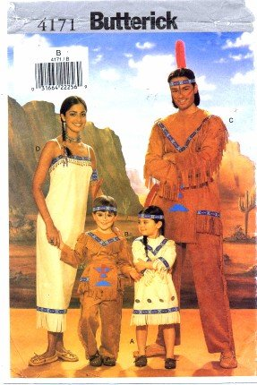 Costumes Sewing Butterick Halloween Patterns (Butterick 4171 Sewing Pattern Childrens Indian Costumes Size 2 -)