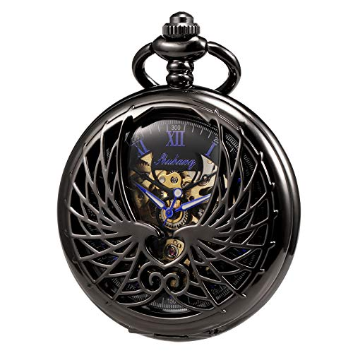 (TREEWETO Men's Women's Pocket Watch Mechanical Skeleton Eagle Wings Double Hollow Case Roman Numeral with Chain Gift Box)