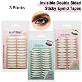 3 Pack Invisible Double-Side Sticky Eyelid Tapes Stickers, Medical-use Fiber Eyelid Strips, Instant