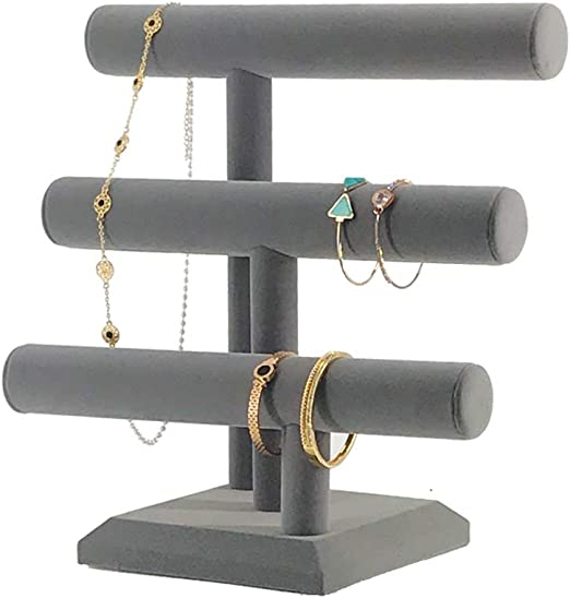 Amazon Com 7th Velvet Jewelry Organizer Holder With 3 Tier Easily For Necklace Bracelet And Watch Display Table Top Holder Display Stand Gray Velvet T Bar Jewelry Tower Home Kitchen