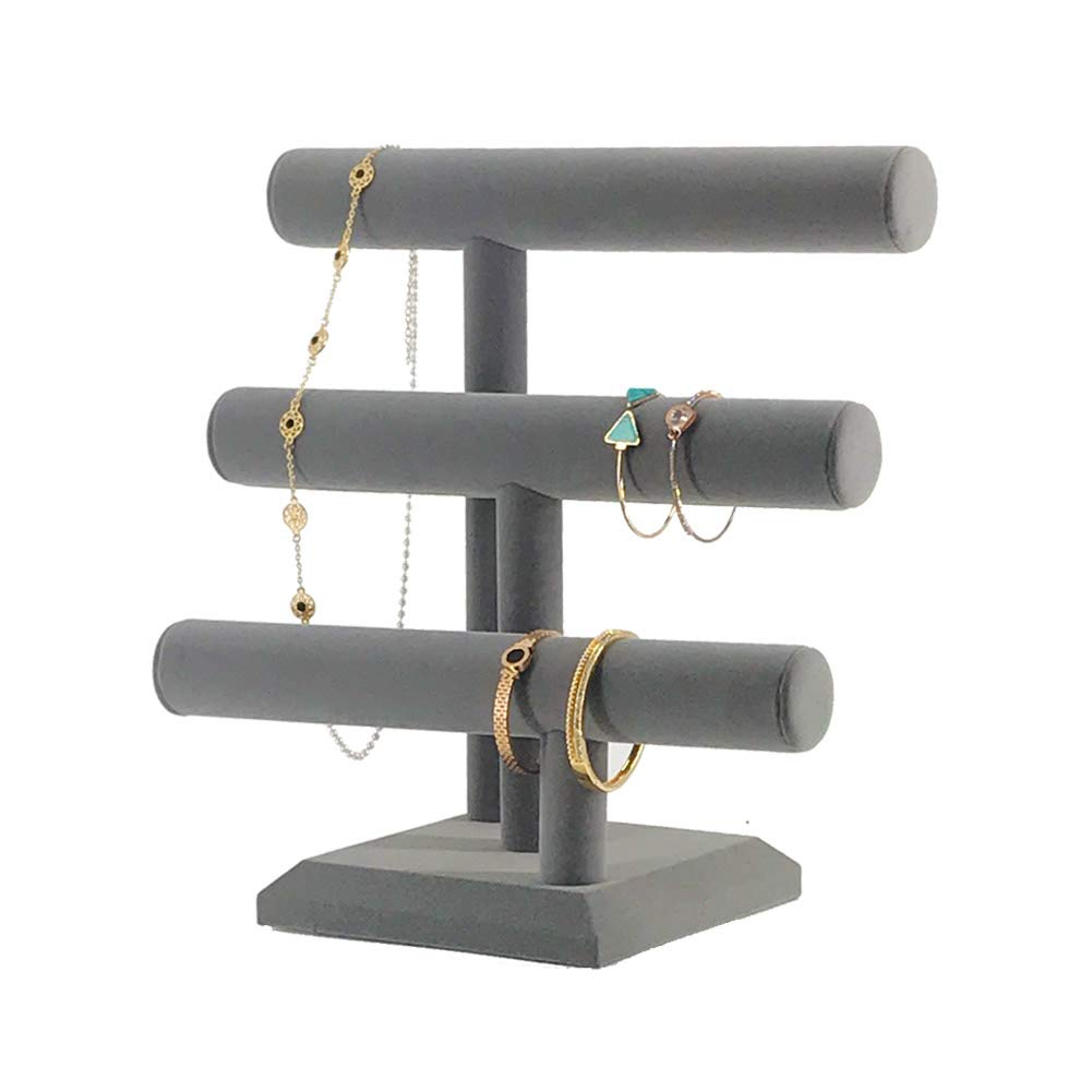 7TH VELVET Jewelry Organizer with 3 Tier, Easily for Necklace Bracelet and Watch Display, Table Top Holder Display Stand, Gray Velvet T Bar Jewelry Tower