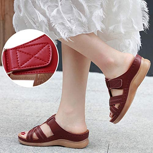 YCKZZR sandalen dames lederen halfschoenen sandalen leer comfort schoenen vrouwen platte schoenen zomer lichte pantoffels vintage vlakke zomerschoenen, blauw, 41