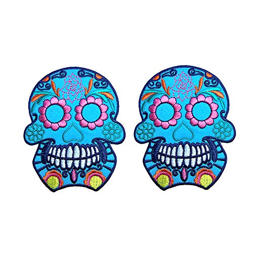 [R2K 2Pcs.Skull Ghost Day Of The Death Love Never Die Rockabilly Lady Rider Hippie Punk Tatoo Jacket T-shirt Patch Sew Iron on Embroidered Sign Badge Costume] (Abc Costume Ideas For Girls)