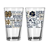 NCAA Notre Dame - Spirit Pint Glasses (2) | UND Fighting Irish 16 oz. Beer Pints - Set of 2