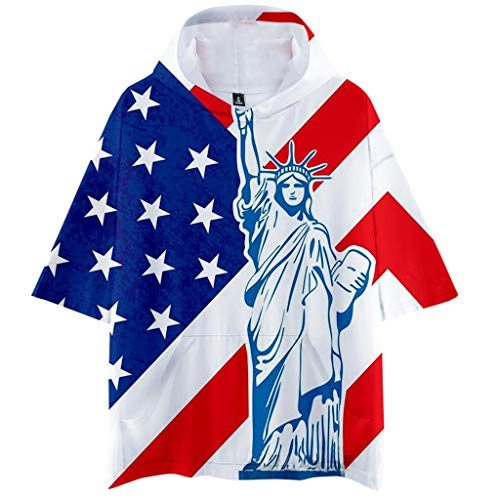 Willow S Men Summer Hooded American Independence Day Flag Printed Sports Shirts Pure Large Size Male Blouse Tops ()