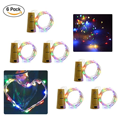 6-Pack 20LED Wine Bottle String Light, GuanYuanGuang 2M/6.6Ft Flexible Copper Wire Fairy Starry Decor Lights for Bedroom, DIY, Parties, Valentines Day, Built-in 3pc Button Cell (Colorful)