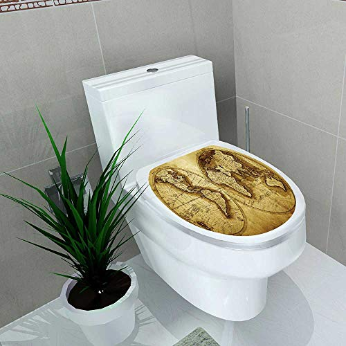 Auraise-home Decoration Bathroom Toilet Cover Sticker Antique map of The World for Restroom Wall Decals W15 x L17 ()