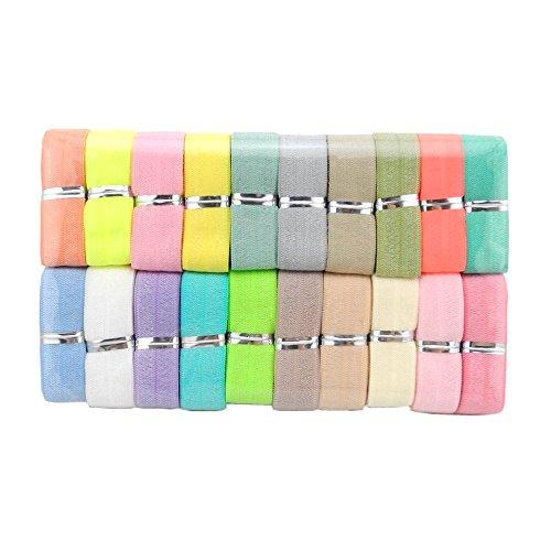 Inspirelle 5/8 Ribbon Elastic Foldover Elastics Stretch FOE Hair Ties Headbands for Baby Girls Hair Bow, 20 Colors, 1 Yard Each One (Light Colors) - Foe Elastic Headband