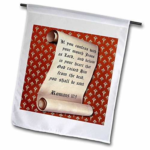 3dRose fl_165732_1 Romans 10 Verse 9 on a Scroll and a Gold Heart Cross on Red Background Garden Flag, 12 by 18-Inch