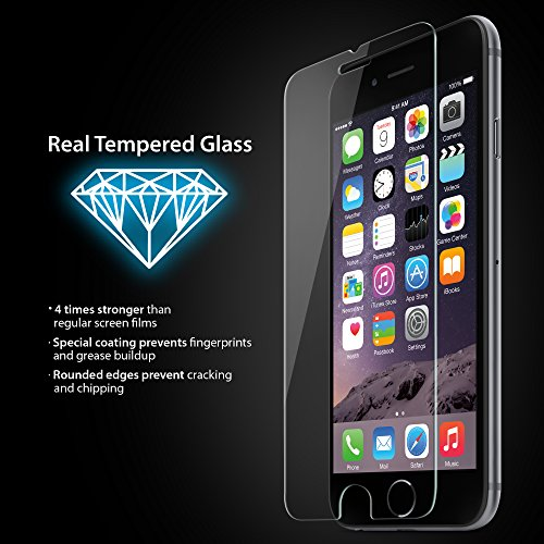 iLuv iPhone 6/6s Tempered Glass Screen Protector with 9H Harness, HD Clear, Anti-shatter, Rounded Edge, Bubble Free, Anti-fingerprint, and Easy Apply Cover Sheet for iPhone 6 - Iluv Screen Clear