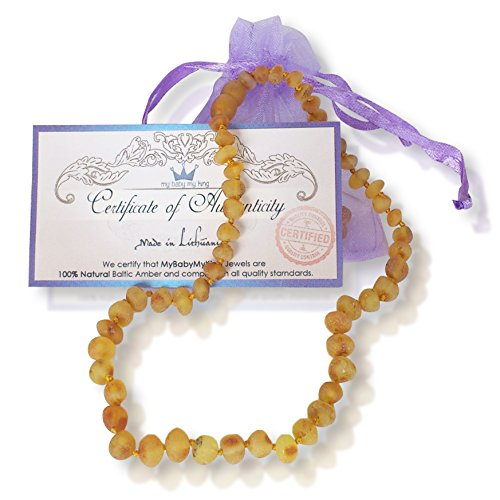 Baltic Amber Necklace for Baby. Teething Pain and Drooling Relief. Made of Raw Unpolished Honey Genuine Amber Beads. (12.5 inches) by MyBabyMyKing
