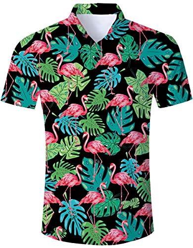 Men's Hawaiian Shirt Black Tropical Weed Leaves Flamingo Print Beach Aloha Shirt Casual Button Down Short Sleeve Dress Shirt