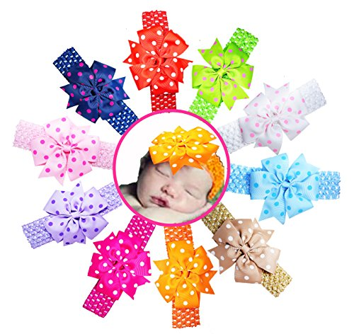 Baby Headbands Infant Girl Grosgrain Ribbon Flower Elastic Headbands by ColorBeBe