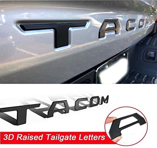 뒷문 삽입 문자 타코마와 호환 2016-2020 3D 제기 강한 접착제 데칼 편지(매트 블랙)