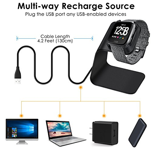 CAVN Compatible Fitbit Versa Charger Dock Stand Cable, Premium Aluminum Charging Cable Cord Station Cradle Base Attached 4.2ft USB Cable Accessories Compatible Fitbit Versa Smartwatch, Black by CAVN (Image #4)