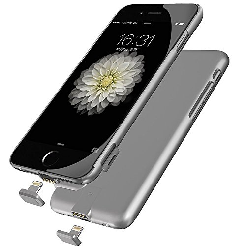 Battery Charger Cases, Ronten Ultra Slim 1500mAh Extended External Protective Portable Mobile Power Supply Battery Case Charger for iPhone 6 / 6S (IPhone 6/6S Gray 4.7) -