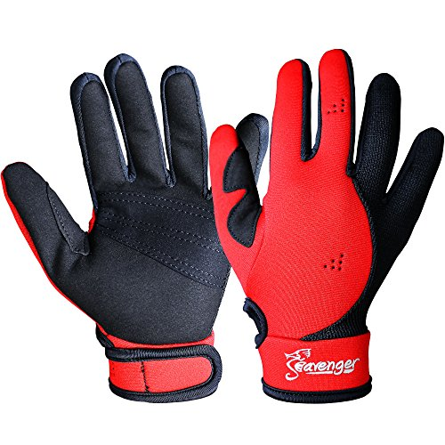 Seavenger 1.5mm Reef Gloves Stretchy Mesh with Reinforced Leather Good for Snorkeling, Kayaking, Spearfishing, Sailing, Scuba Diving, Rafting (Red, Medium) (Diving Glove Gear Scuba)