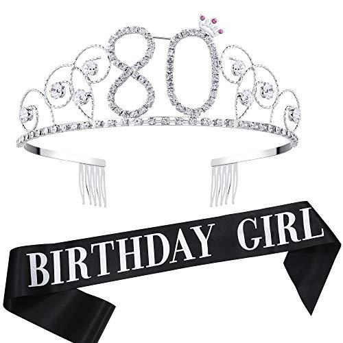 BABEYOND 80th Birthday Tiara and Sash Crystal Happy Birthday Crown and Satin Birthday Girl Sash 80th Birthday Party Supplies Rhinestone 80th Princess Crown and Glitter Sash]()