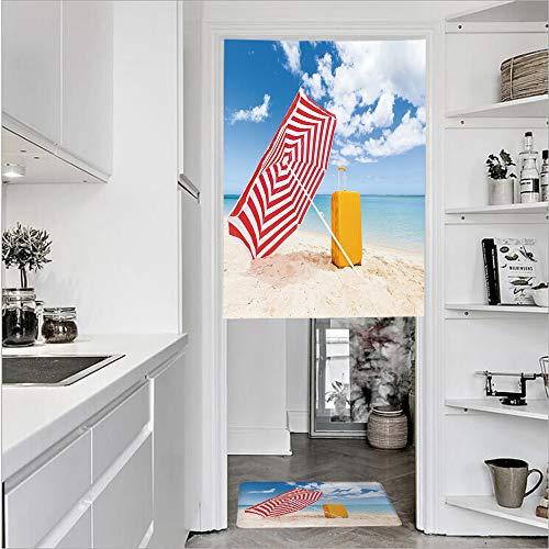 Sunshade Alabama (SCOCICI 3D Printed Linen Textured French 1 Panel Door Curtains 1pcs Doormat Kitchen Mat Rug,Beach Sunshade Trolley Summer Holiday RelaxSingle Panel Door Curtain 29.5