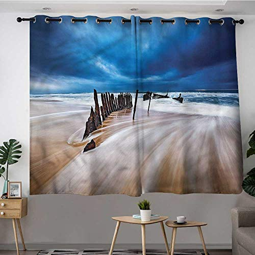 Fbdace Shipwreck Grommet Window Curtain Beach with a Worn Wreck Space Decorations Simple Stylish W 72
