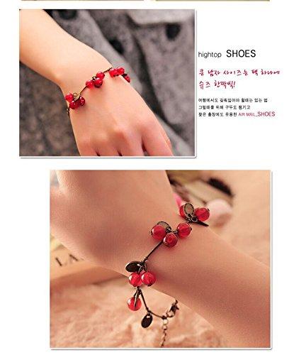 Retro red Cherry Lucky Coin Bracelet Bangle (Lucky Cherry)