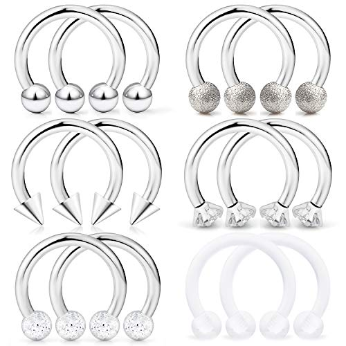 Hoeudjo Septum Hoop Nose Ring 16G Surgical Steel Circular Horseshoe Rings Piercing Jewelry with Cubic Zirconia Cartilage Helix Earring Barbell Retainer for Women Men 12 Pieces 10mm ()