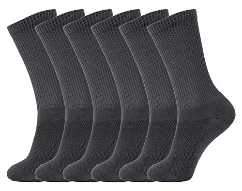 MD 6 Pack Soft Men and Women Antibacterial Bamboo Fiber Crew Casual Socks 6Grey10-13