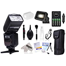 Opteka E-TTL AF Flash (IF-980) with Stand + Pouch + Diffuser + Grid + Batteries + Care Kit for Canon EOS 70D, 60D, 60Da, 50D, 1Ds, 7D, 6D, 5D, 5DS, T6s, T6i, T5i, T5, T4i, T3i, T3 Digital SLR Cameras